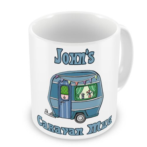 Personalised Caravan Novelty Gift Mug - Blue